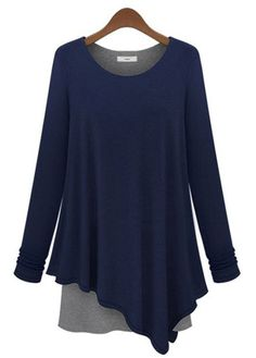 wholesale Stylish Navy Blue Paned Long Sleeve High Low Tees