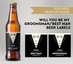 Will You Be My Groomsman, Will You Be My Best Man, Custom Beer Labels, Tuxedo Beer Labels, Editable Beer Labels, Instant Download Be My Groomsman, Groomsmen, Custom Beer Labels, A Good Man, Tuxedo, Special Day, I Am Awesome, Boxes, Party Ideas