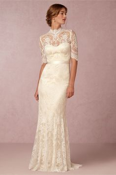 """Bridgette"" STUNNING Cream Lace Column/Sheath Wedding Gown Showcasing: Half Lace Illusion Sleeves, Illusion Lace High Neckline, Satin Ribbon Detail At Natural Waist, & Puddle Train; by Catherine Dean for BHLDN"