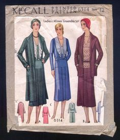 1930 McCall Pattern Ladies' Ensemble with Coat and Dress | eBay