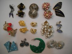 Estate Vintage Lot Of 14 Clip On And Pireced Earrings, L. Bot, Monet, Conventry…