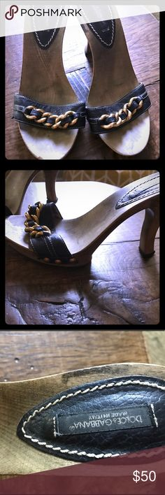 Dolce and Gabbana wooden heels These super cute wooden heels are authentic. Designed by Dolce and Gabbana. As you can see in the picture, there is a chip out of the front of the heel. Dolce & Gabbana Shoes Heels
