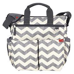 Skip Hop Baby Duo Signature Diaper Bag, Chevron, Grey/White : Baby