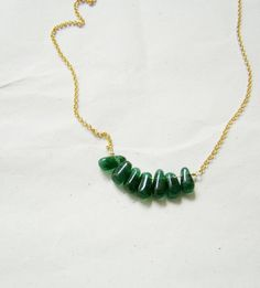 Green aventurine and gold thin chain necklace by Akatos on Etsy, $37.50