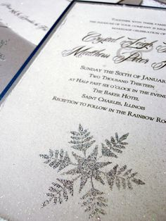 Winter Wedding Invitations silver snowflake by everafterpapery, $4.00