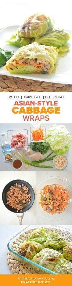 """PIN-asian-style-cabbage-wrapsStuffed cabbage wraps get an Asian-inspired twist in this recipe full of fresh ingredients. This recipe makes a large batch for a Paleo-friendly crowd pleaser. For the full recipe visit us here: <a href=""""http://paleo.co/cabbagewraps"""" rel=""""nofollow"""" target=""""_blank"""">paleo.co/...</a> <a class=""""pintag searchlink"""" data-query=""""%23paleohacks"""" data-type=""""hashtag"""" href=""""/search/?q=%23paleohacks&rs=hashtag"""" rel=""""nofollow"""" title=""""#paleohacks search…"""