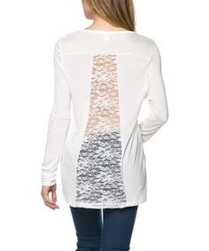 Look at this #zulilyfind! White Lace-Back V-Neck Tee by Serene Blue #zulilyfinds