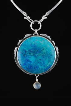 Parrot Wing Chrysocolla & Moonstone Centerpiece