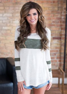 Long sleeve top, top, Striped, Olive Green, Beige, Online Boutique