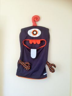 Monster Laundry/Toy Bag, Startling Black & Orange 1 Eye Friendly Monster, I'm a Pet, Bag, dress Up, Softie, Christmas gift, unisex, teens by ColourMeldDesigns on Etsy