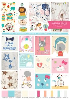 Autumn/Winter Mystical Circus Trend for Baby. - I need to play around with a circus pattern! Kids Patterns, Print Patterns, Baby Winter, Kids Prints, Cute Characters, Grafik Design, Cute Illustration, Animals For Kids, Cute Kids