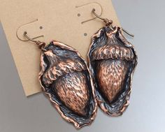 One of a kind Chased and Repoussed Copper Acorn Earrings