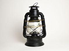 "Vintage Black and Gold Kerosene Lamp,  ""ALG"""