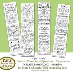 Ephesians 1-4 Color-Your-Own Bible Journaling Bookmarks
