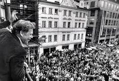 Czechoslovakia, November 1989. A symbol of the Velvet Revolution - Vaclav Havel.