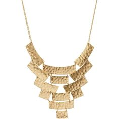 Charlotte Russe Gold Hammered Metal Bib Necklace by Charlotte Russe at... (8.46 AUD) ❤ liked on Polyvore featuring jewelry, necklaces, accessories, gold, chain collar necklace, chain necklace, yellow gold chain necklace, metal bib necklace and gold jewelry