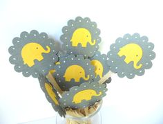 Elephant Cupcake Toppers by sunshowerstuff, $4.75