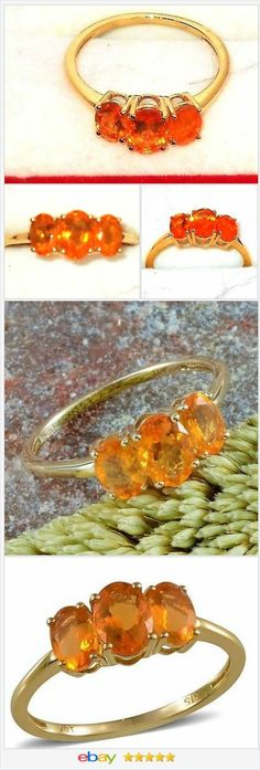50% OFF #Ebay  http://stores.ebay.com/JEWELRY-AND-GIFTS-BY-ALICE-AND-ANN   10K Yellow Gold Jalisco Fire Opal 3 Stone Ring 1.30 Carats. Size 8