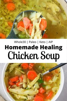 Whole Chicken Soup, Chicken Soup For Colds, Healthy Chicken Soup, Homemade Chicken Soup, Chicken Soup Recipes, Healthy Soup Recipes, Whole Food Recipes, Cooking Recipes, Paleo Soup