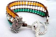 Turquoise and Yellow Owl Charm Toggle Leather Wrap by HempGalore, $30.00 #handmade #jewelry #love #fashion #owl