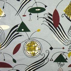 Calder / Sputnik inspired bark cloth swatch.