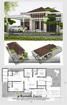 Small Modern House Plans, Modern Small House Design, House Front Design, Simple House Plans, Modern Bungalow House, Cottage Style House Plans, Bungalow House Plans, Dream House Plans, Minimal House Design