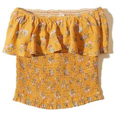 9f6ba7374d0 Hollister Smocked Ruffle Tube Top ($25) ❤ liked on Polyvore featuring tops,  yellow