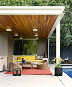 An outside living space with a MCM vibe