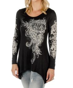 Another great find on #zulily! Liberty Wear Black & White Abstract Sidetail Top - Plus Too by Liberty Wear #zulilyfinds