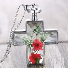 Exquisite Cross Shape Dry Flower Decorated Sweater Chain For Women