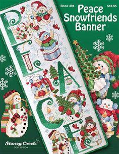 Peace Snowfriends Banner - Cross Stitch Pattern