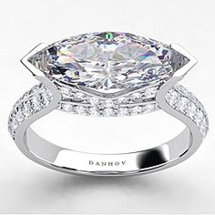Danhov Gold Cubic Zirconia and TDW Diamond Engagement Ring (G, Cushion Cut Diamond Ring, Round Diamond Ring, Engagement Ring Settings, Diamond Engagement Rings, Marquise Diamond, Marquise Cut, Unique Rings, Ring Designs, Custom Jewelry