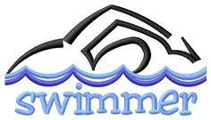 Grand Slam Designs Embroidery Design: Swimmer 4.92 inches H x 8.87 inches W