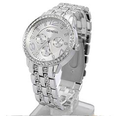 Happy Hours - Silver Unisex Classic Big Dial Alloy Round Geneva Bling Quartz Leisure Wrist Watch. High Quality Quartz Analog Unisex Watches. Decorative Non-Functioning Sub Dials. Sparkling crystal rhinestone on the surface makes the watch more eye-catching. Note :The small sub-dials on the watch face are for decoration only. Type:Wrist Watch,Fashion Watches,Casual Watches,Dress Watches.