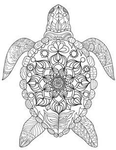 Free printable sea turtle adult coloring page. Download it in PDF format at http://coloringgarden.com/download/sea-turtle-coloring-page/