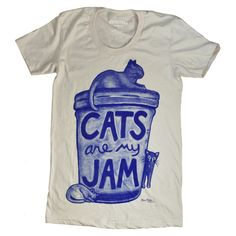 """Womens Funny Cat Shirt """"Cats are my Jam"""" T-shirt by Xenotees"""
