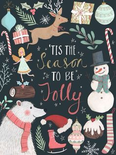 'Tis the Season to be Jolly colorful Christmas chalkboard holiday art print printables.