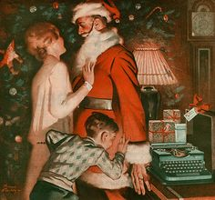 a typewriter under the christmas tree
