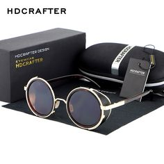 0dbec552fc HDCRAFTER Mirror Lens Steampunk Sunglasses Brand New Sun Glasses Vintage  Retro Men Round Steampunk Cyber Goggles For Men Women
