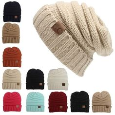 bf866099adf CC Beanies Hats  amp  Caps Women Winter Knitted Wool Cap Men Casual Unisex  Solid Col
