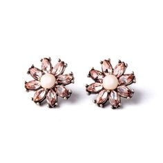 Flower Design Stud Earrings with Pink Pearl and Crystals