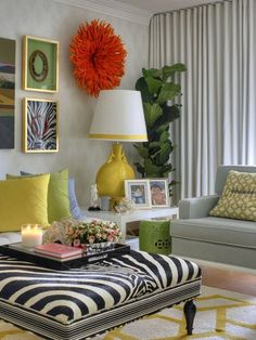 zebra ottoman and love the colors and the flower on the wall is beautiful!!!