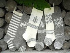 Hand knit Christmas Stocking Grey and White with stripes, deer, tree, snowflake ornament