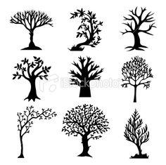 Stylized Tree Silhouette Set Royalty Free Stock Vector Art Illustration