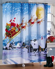 Santa's Flight Christmas Bathroom Shower Curtain Collections Etc… The Night Before Christmas, Christmas Holidays, Christmas Decorations, Christmas Stuff, Christmas Ideas, Rustic Christmas, Holiday Fun, Holiday Crafts, Merry Christmas