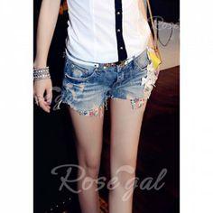 Floral Print Denim Fashionable Style Women's Shorts | Rosegal.com