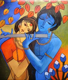An Indian Contemporary Artist - An renowed Delhi based Artist having numbers of solo and group shows in delhi, mumbai and other cities and countries, . Krishna Painting, Krishna Art, Hare Krishna, Krishna Leela, Modern Indian Art, Indian Folk Art, Modern Art, Fabric Painting, Artist Painting