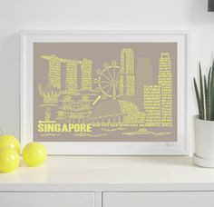 Singapore Citography print stone & Faded neon