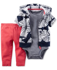 Carter's Baby Girls' 3-Pc. Floral-Print Hoodie, Bodysuit & Leggings Set - Baby Girl (0-24 months) - Kids & Baby - Macy's