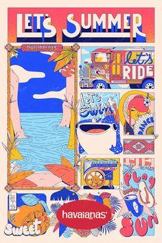 Estudio Pum Brings Stylish Tropical Look to Havaianas Illustrations Graphic Design Studios, Graphic Design Posters, Illustrations And Posters, Graphic Illustration, Vintage Posters, Art Inspo, Pop Art, Character Design, Tropical